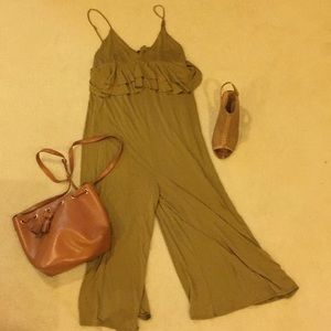 Green Urban Outfitters Culotte Jumpsuit